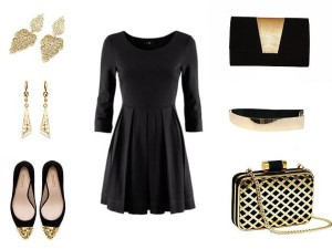 czarna sukienka stylizacja