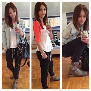dresowe spodnie z jeansową kurtką