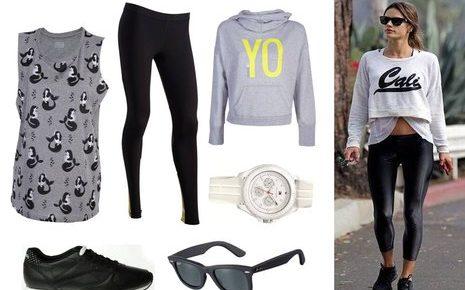 Sportowe stylizacje z legginsami, trampkami i dresami