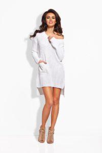 biała, dzianinowa sukienka z dłuższym tyłem