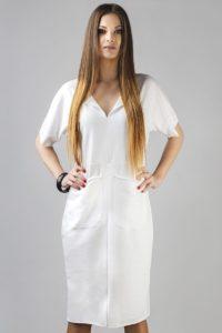 dresowa biała sukienka