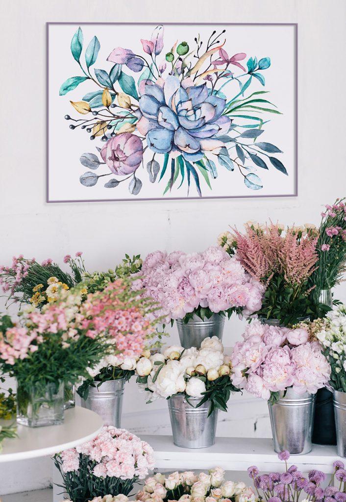 plakat kwiat w kwiaciarni